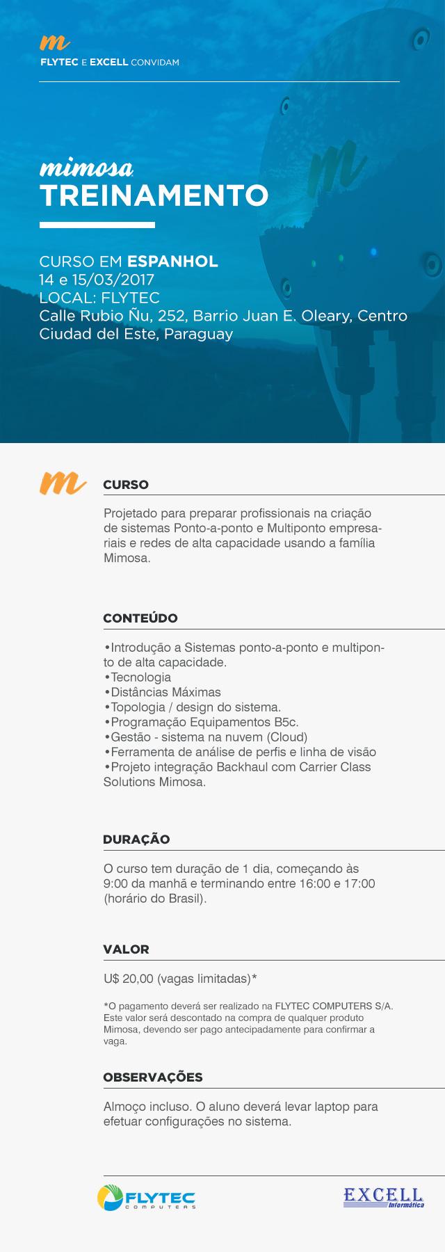 Treinamento Mimosa em espanhol, dias 14 e 15/03/2017, na Flytec. Informações detalhadas