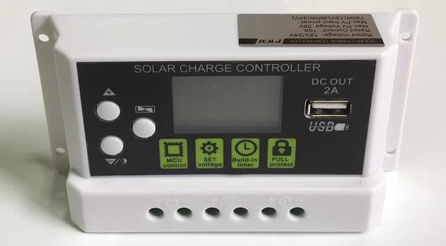 SOLAR PWM 10A CONTROLADOR 12V/24V DC OUT 2A USB