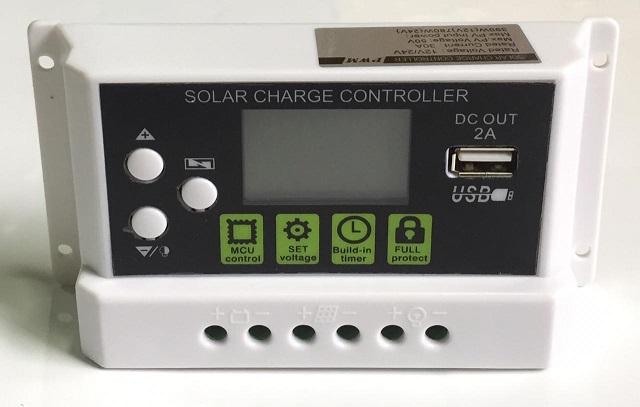 SOLAR PWM 30A CONTROLADOR 12V/24V DC OUT 2A USB
