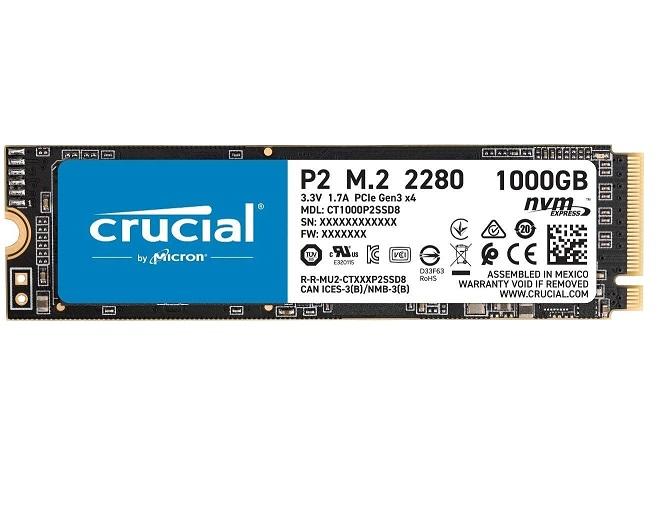 CRUCIAL HD SSD 1TB P2 M.2 2280 3D NVNE CT1000P2SSD8 INTERNO