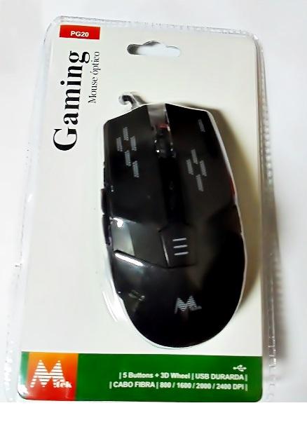 MOUSE MTEK PG20 USB GAMING LED 2400DPI 5 BOTÕES